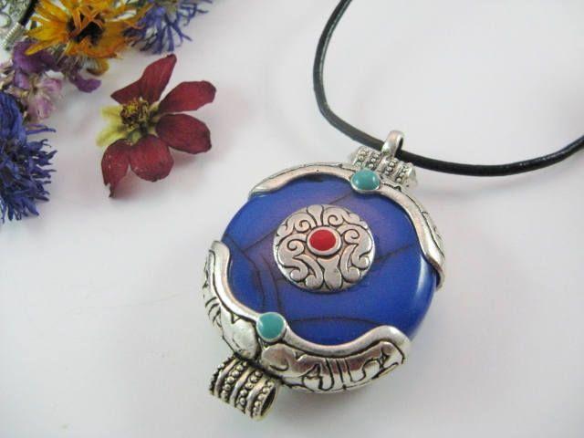 Ethnic Necklace, Statement Necklace, Large Blue Pendant Necklace, Leather Pendant Necklace by Wireandcolour on Etsy