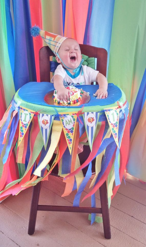 1 - I AM 1 Highchair banner - Babys First TV Inspired Collection - Royal Blue Stripes Primary Color Polka Dots - Party Packs Available
