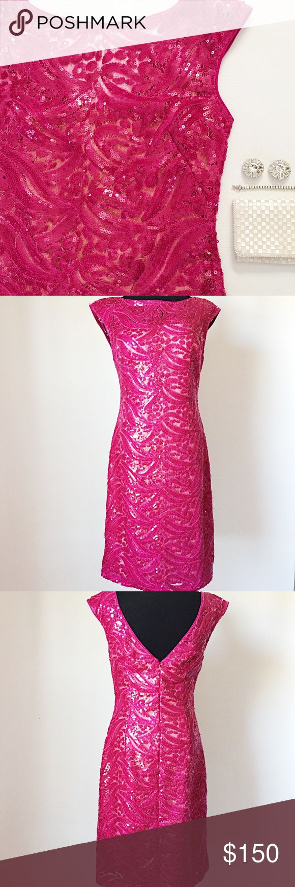 """ML Monique Lhuillier Sequin Sheer Dress ML Monique Lhuillier Sequin Sheer Dress in rasberry featuring delicate floral sequins.  Nude slip attached and included.  V back with hidden zipper.  Gorgeous color and amazing detail!  NWT, never worn!  A few loose threads, no missing sequins or damage.  •  BUNDLE with accessories to SAVE and GET THE LOOK!  •   Measurements laying flat: Armpit to armpit: 16"""" Waist (across): 14""""  Hips: 17.25"""" Total length: 37"""" Monique Lhuillier Dresses"""
