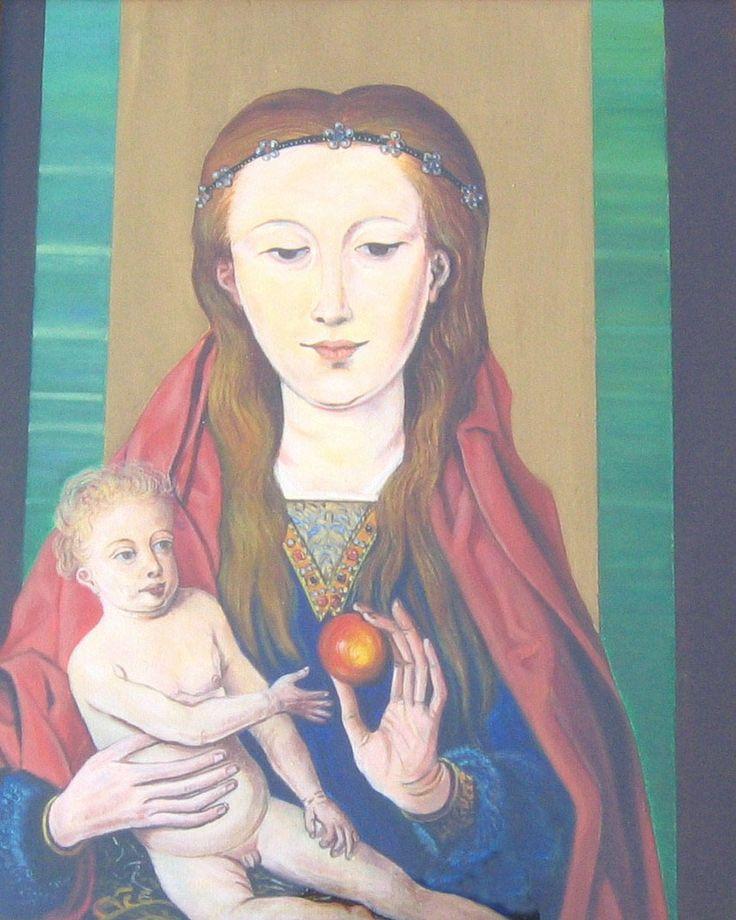 E. Besozzi pitt. 1973 Madonna con bambino acrilico su tela cm. 50x40 arc. 1306