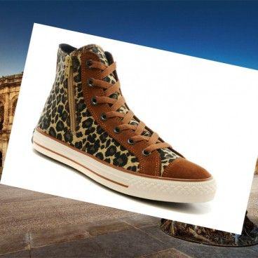 Leopard Print Converse Chuck Taylor All Star Alto Superiores Zipper Brown scarpe di camoscio