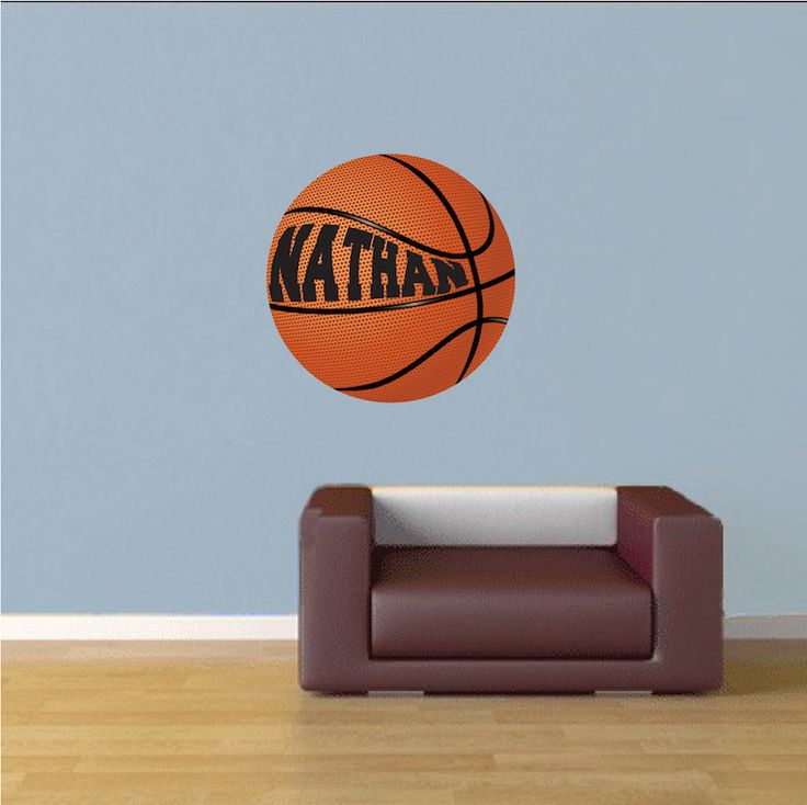 Boys Room Custom Basketball Wallpaper Decal - Basketball Bedroom Stickers - Large Basketball Decals - Sports Wallpapers - Primedecals.com