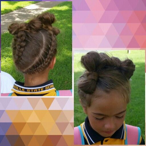Dutch braids with some bows. Pretty girls hairstyle.