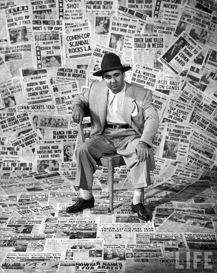 Gangster Mickey Cohen. Photo prop background?