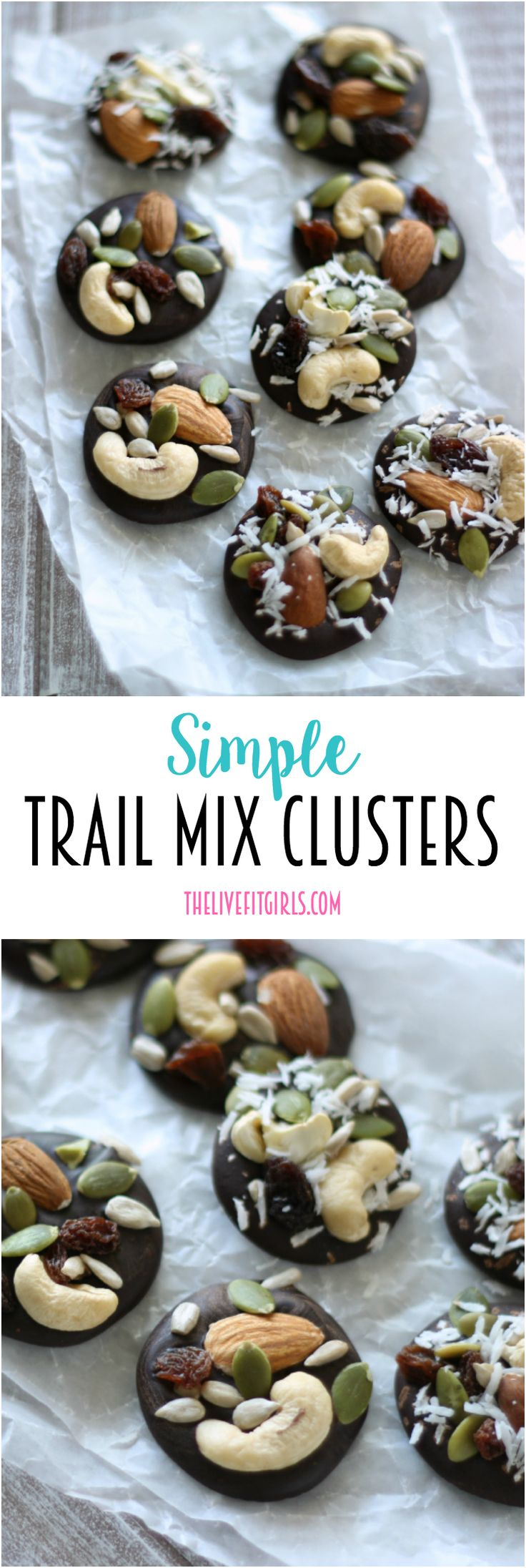 These Trail Mic Chocolate clusters are the perfect portable solution for a quick and healthy snack!