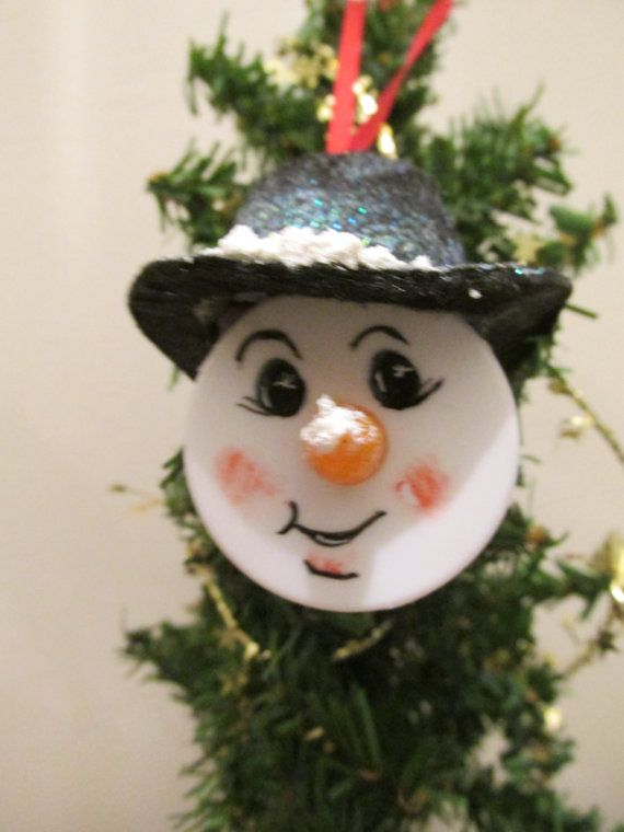Snowman Tealight Handpainted Ornament by judyswork on Etsy