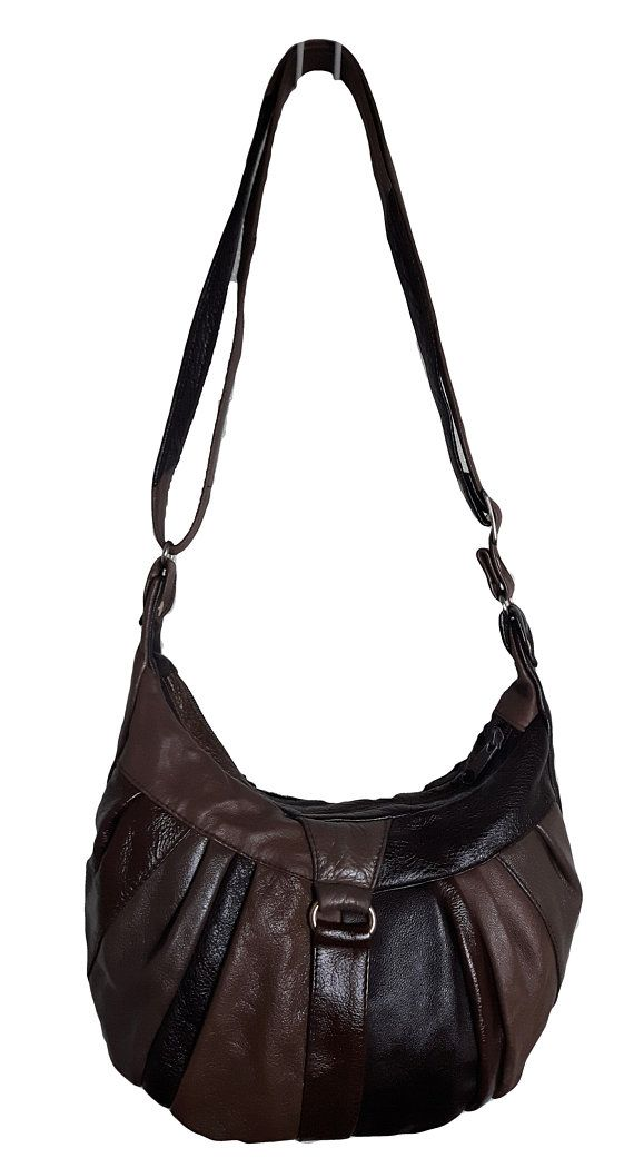 Vintage LUGANO Italy Genuine buttery soft Mahogany Brown and Black patchwork Pleated Leather Crossbody multi compartment retro Zipper purse