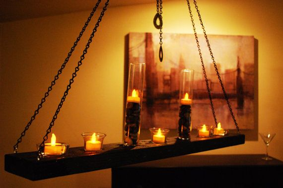 Wood & chain hanging candle holder chandelier by MagicOwlDesigns