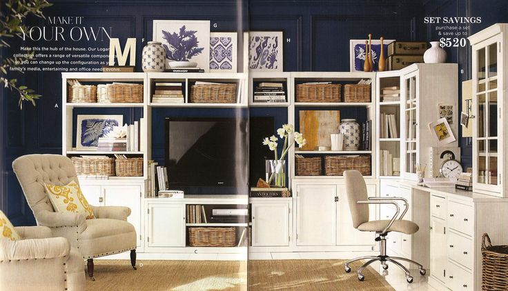 logan large media suite pottery barn and logan small office suite