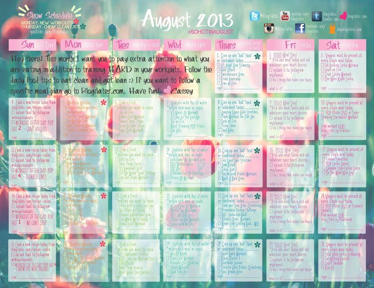 august 2013 calendar // blogilates // fitness
