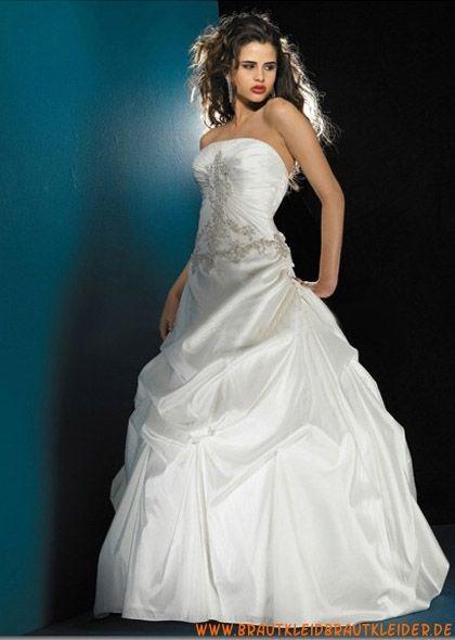 Günstiges Brautkleid aus Taft mit langer Schleppe A-Linie online