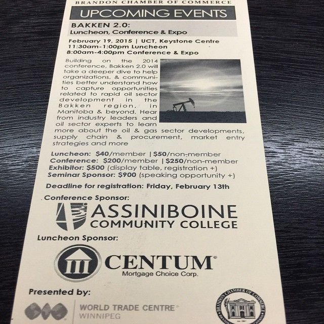 We are excited to be the luncheon sponsor for the Brandon Chamber of Commerce Bakken 2.0 Luncheon, Conference and Expo next month. #bdnmb #centum