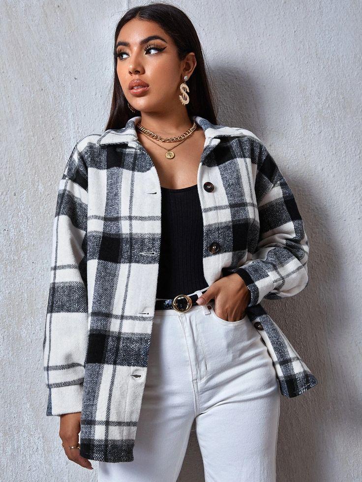 Plaid Coat, Plaid Jacket, Women's Fashion Dresses, Fashion Clothes, Flannel Shirt Outfit, Cropped Cardigan Sweater, Grey Sweatshirt, Sweat Shirt, Grey Sweater