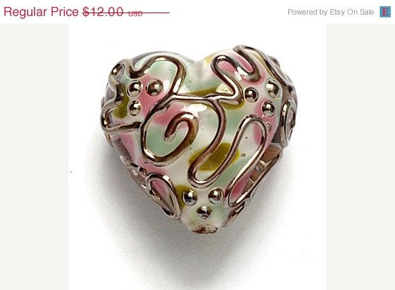 grace lampwork beads sra glass heart light pink w metal stringer
