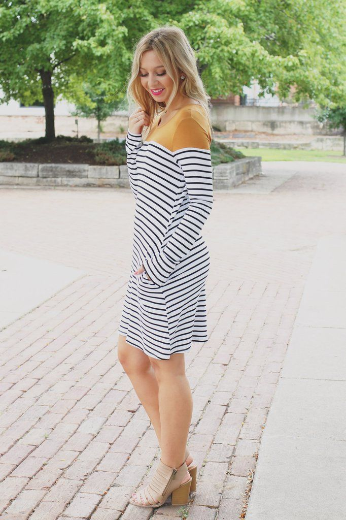 Mustard Long Sleeve Stripped Keyhole Back Dress