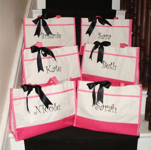 6 Personalized Bridesmaid Totes in Black, Navy, Red, Hot Pink or Lime - Wedding Party Gift - Monogrammed Tote Bag - Bridesmaid on Etsy, $90.00