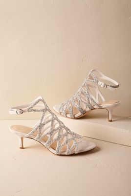 White strappy low heel BHLDN Bridal Heels