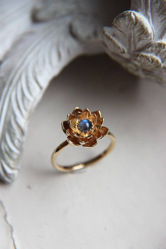 Gold Lotus Ring Is Hand Sculpted From Solid 14k Gold Sheet This Lotus Engagement Ring Features Lotus Engagement Ring Delicate Rings Moonstone Engagement Ring