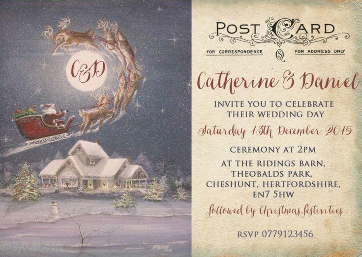 Christmas Parties Hertfordshire Part - 50: Personalised Vintage Postcard Christmas Wedding Invitations Packs Of 10