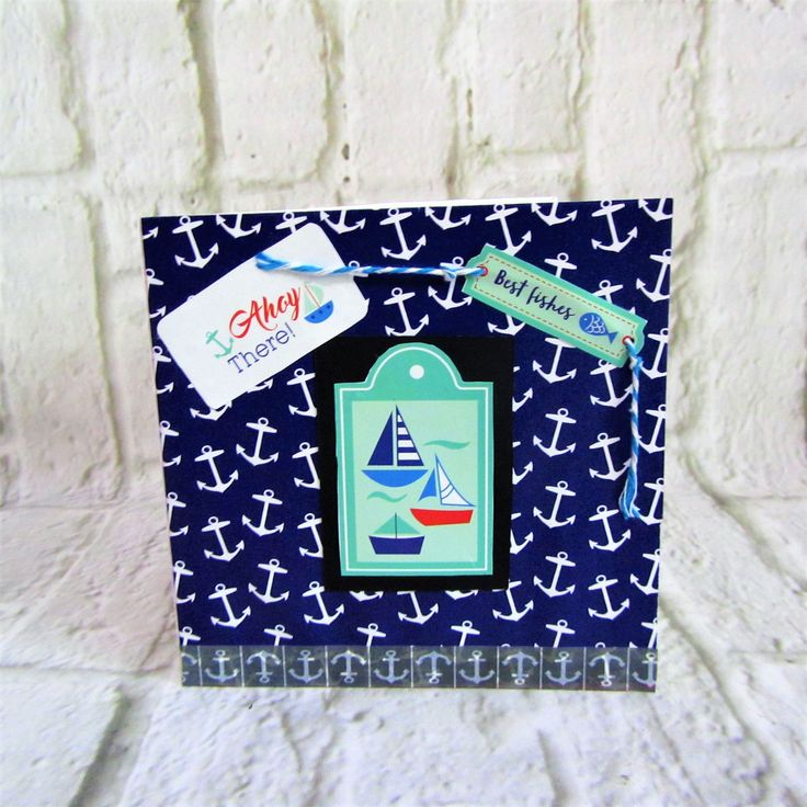 Unique one of a kind male birthday card with Yachts and anchors.  Free postage