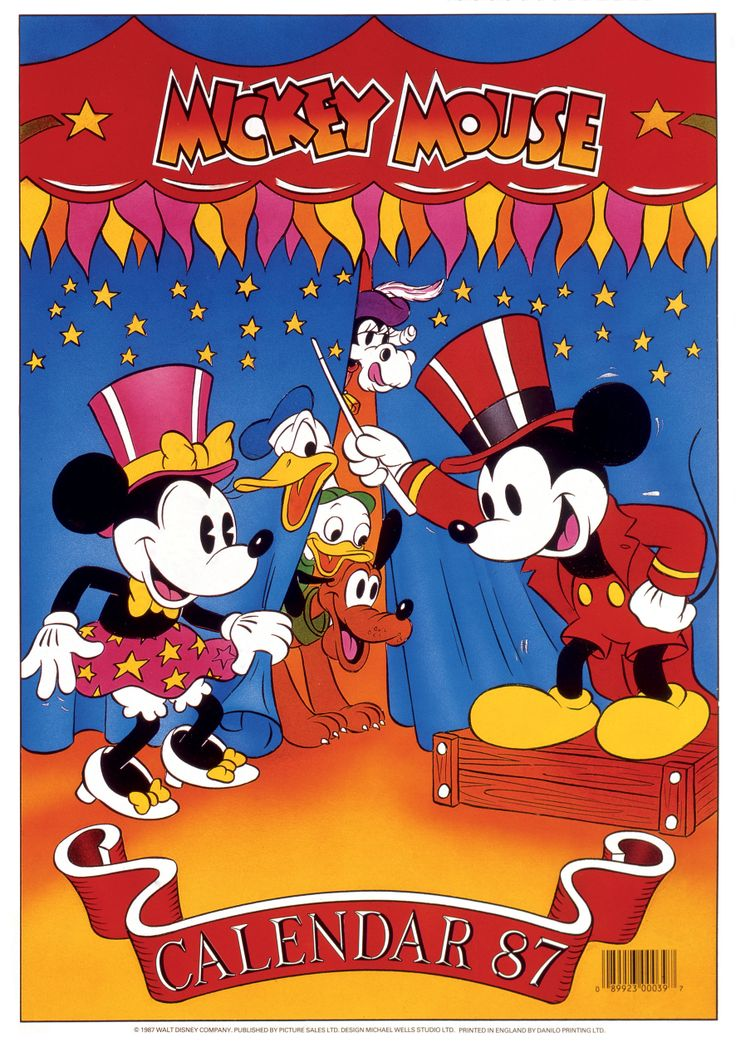 Mickey and Minnie 1987 calendar, the couple which never ages! Just take a look at this years 2014  Mickey & Minnie calendar they look just the same!!! http://www.danilo.com/Shop/TVMovie-and-Entertainment-Calendars/Mickey-and-Minnie-His-and-Hers-2014-Slim-Calendar