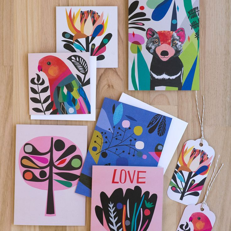 Earth Greetings cards. A collaboration between Earth Greetings and Australian artists Inaluxe.