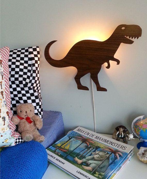 Dino-bite-me! dinosaurus lamp licht kinderkamer kerstkado retro hout dino monster avontuur jongens