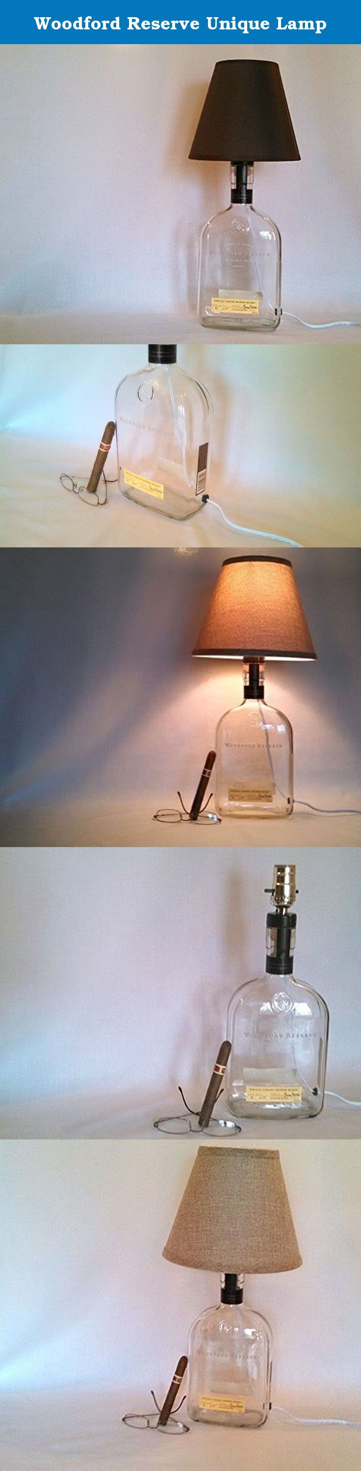 Woodford Reserve Unique Lamp. This Lamp would make the perfect gift to the person who has everything. This 1.75L bottle has been repurposed into a lamp, saving the bottle from the landfill. This lamp gives enough light to see what is on your desk or to light up a hall. This lamp is made from an 1.75L liquor bottle. You choose brown, black or burlap lamp shade. You may also have no lamp shade. Small details have been added such the rubber seal on the back to protect the cord from glass cut...