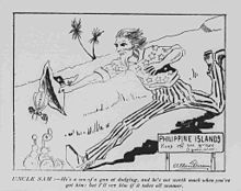 Depicting Uncle Sam chasing after a bee, who is supposed to represent Emilio Aguinaldo, the President of the Philippines from  1897 to 1901. In 1901, two years after this cartoon's publication in America, at the end of the Philippine-American War, Aguinaldo would surrender control of the Philippines to the United States.