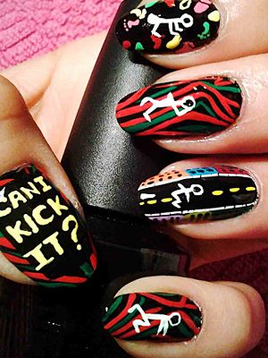 A Tribe Called Quest's Midnight Marauders album art turned into a mani. We can kick it.