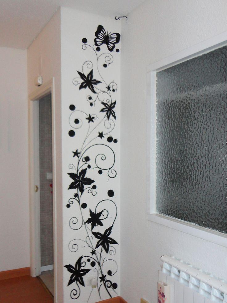 Murales de flores para salon pasillo columna peluqueria - Decorar columnas salon ...