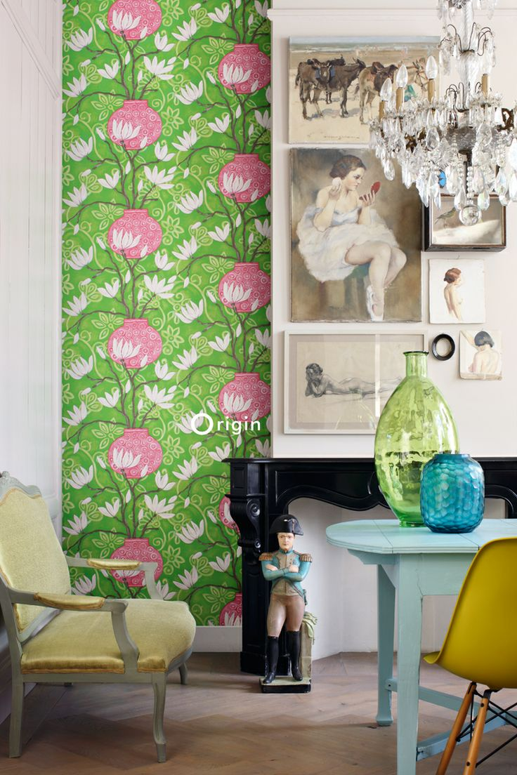 silk pinted non-woven wall covering magnolia green and pink. Collection Mariska Meijers, Origin - luxury wallcoverings.