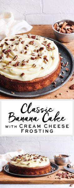 Classic Banana Cake with Cream Cheese Frosting   eatlittlebird.com