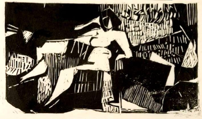 Giannis Bouteas. 1941 Without title (Nude). 1959. Μπουτέας Γιάννης, 1941 Άτιτλο (Γυμνό), 1959, ξυλογραφία σε πλάγιο ξύλο
