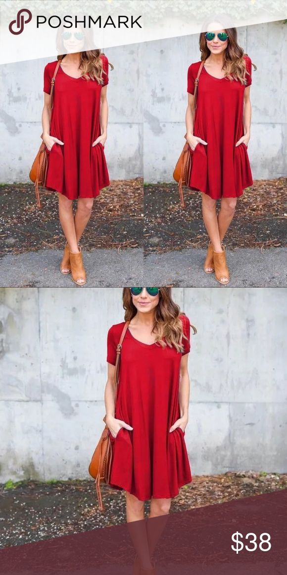 V neck shirt casual short sleeve dress This dress Featuring a sapphire solid red…