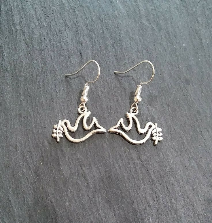 Peace Dove with Olive Branch Earrings by MyEclecticWares on Etsy