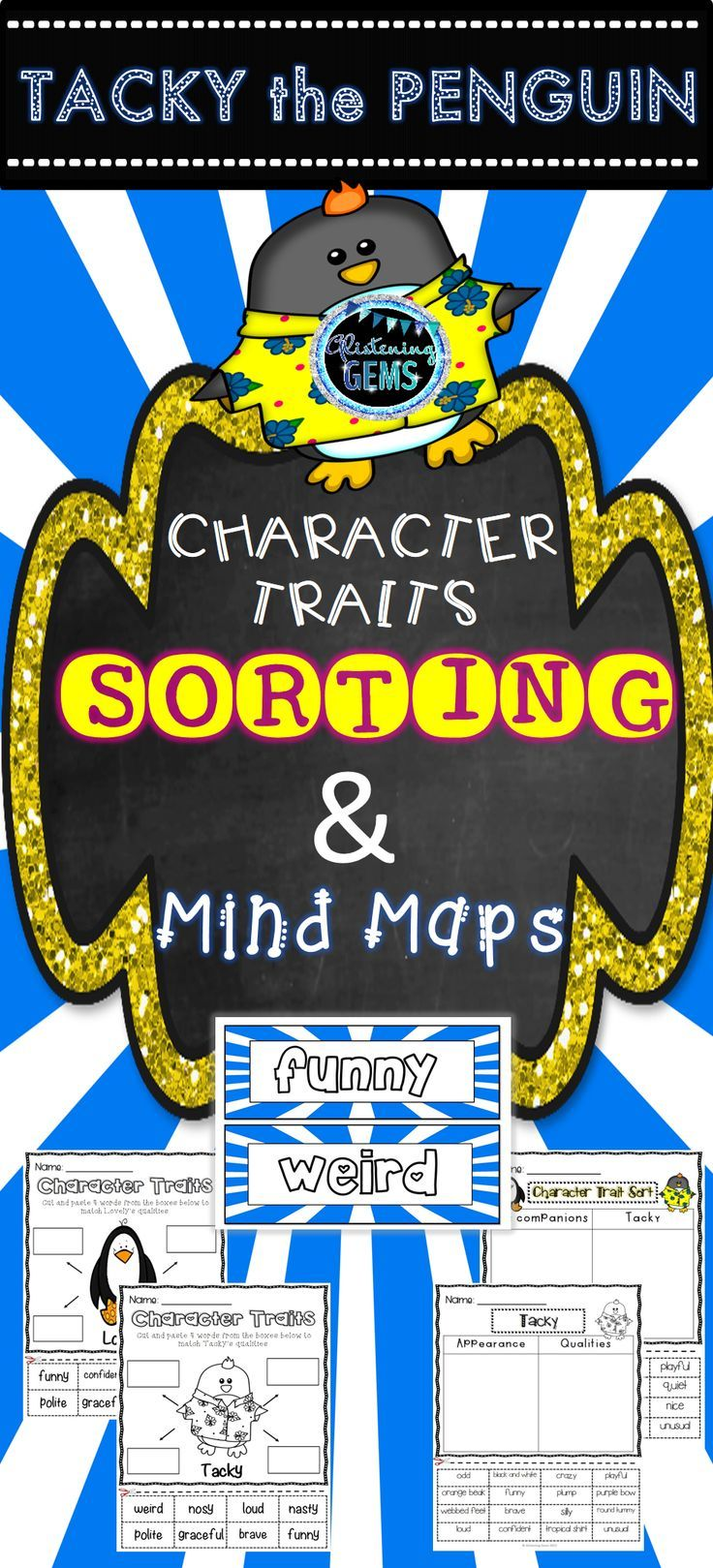 Character Traits Pack for the popular story 'Tacky the Penguin' by Helen Lester. Included in this pack is bright and colorful cut and paste sorting, mind map activities, word wall cards and anchor charts (answer sheets) for students to consolidate their understanding of character traits.