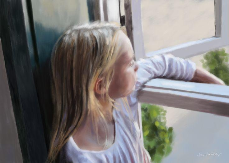 My youngest, Sara, by the window. Painting by Jonas Linell 2016. #art #painting #portrait #artwork #maleri #portræt #kunstværk #children #kunst #artist #figurative #classic #impressionism #digital #window #interior #kids