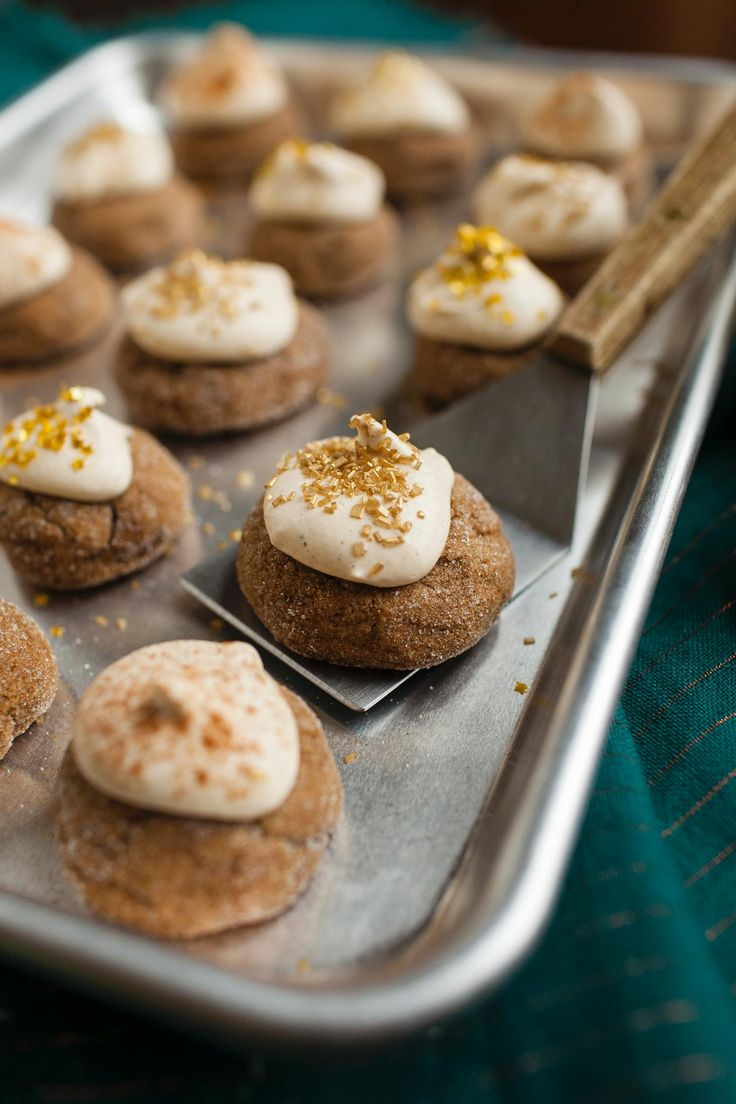 Soft Pumpkin Molasses Cookies with Spiced Mascarpone Whipped Cream