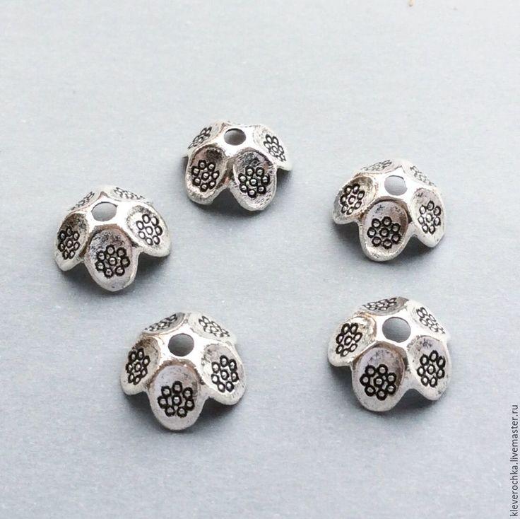 Купить _10 шт/ Шапочки 9 мм цвет серебро для бусин для украшений - металлическая фурнитура
