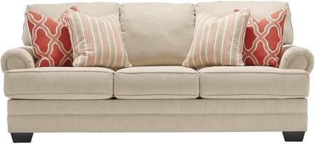 "Sansimeon 7990438 87"" Stationary Fabric Sofa with Toss Pillows Included Rolled Arms and Coil Seat Cushions in Stone Color"