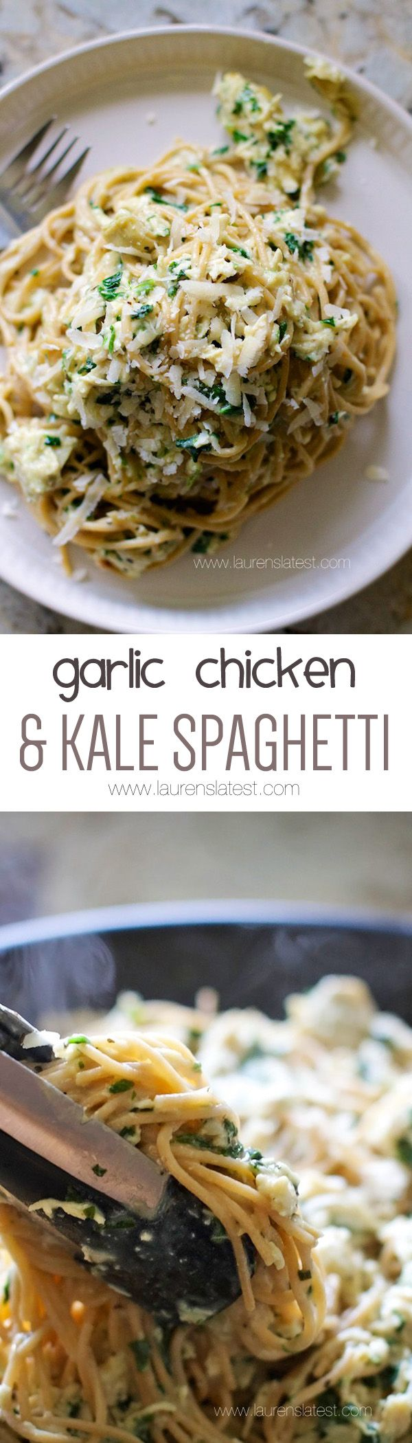 Garlic Chicken & Kale Spaghetti I can use gluten free noodles by laurenslatest #Chicken #Kale #Pasta