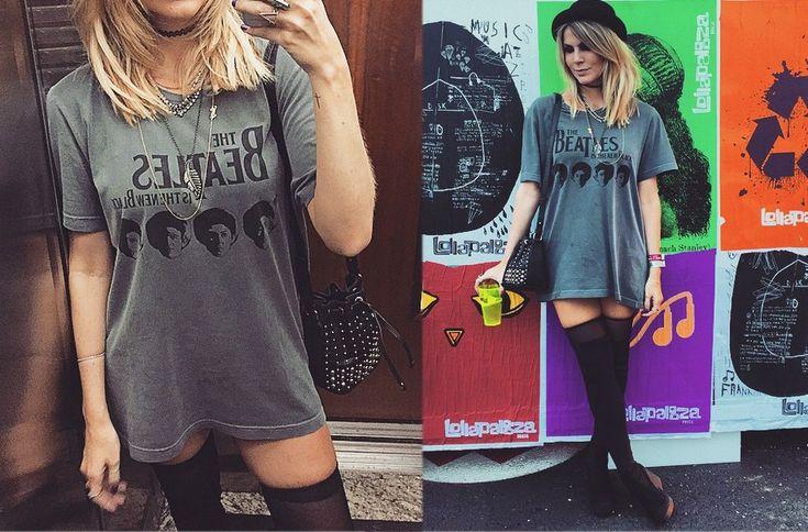 """Julia Faria apostou no vestido estilo camiseta e na bota com meia 7/8, dando impressão de uma bota over the knee. Pra completar, chapéu em modelo """"Chaplin"""". Adorei! - Foto: Reprodução/Instagram"""