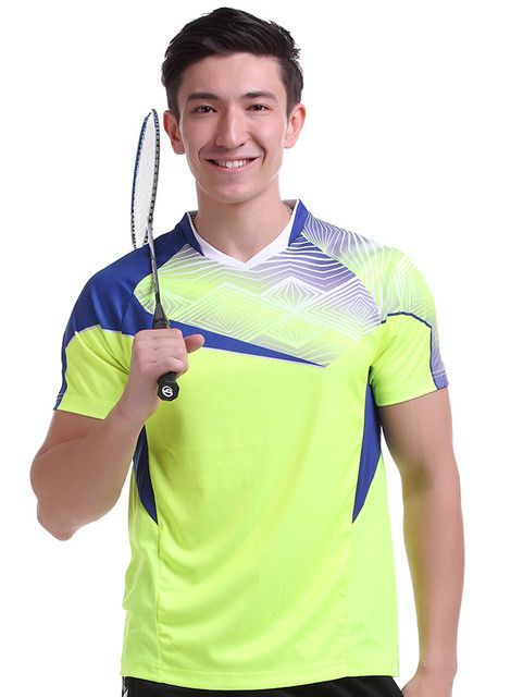 New Sportswear sweat Quick Dry breathable badminton shirt , Women/Men table tennis clothes team game running Gym yellow T Shirts