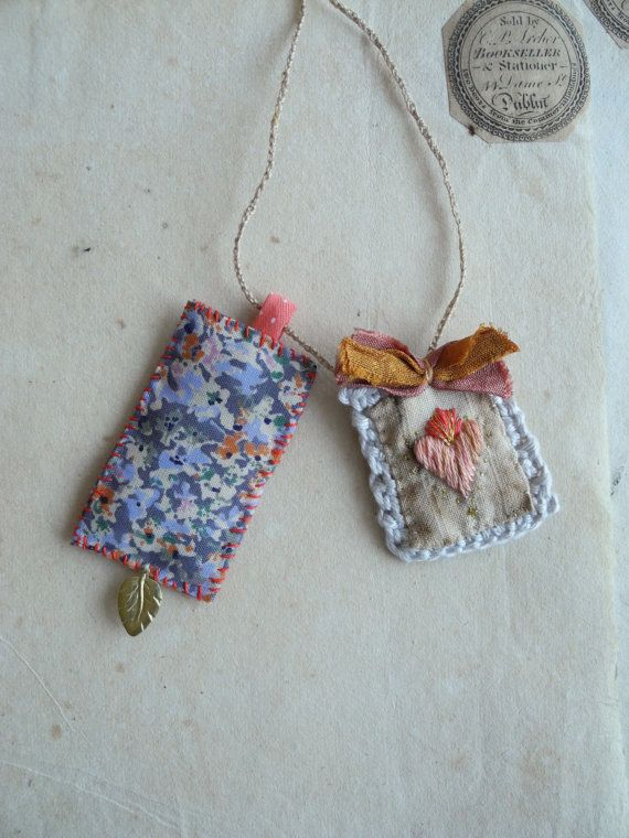 Embroidered heart fiber necklace textile art ooak by giovabrusa