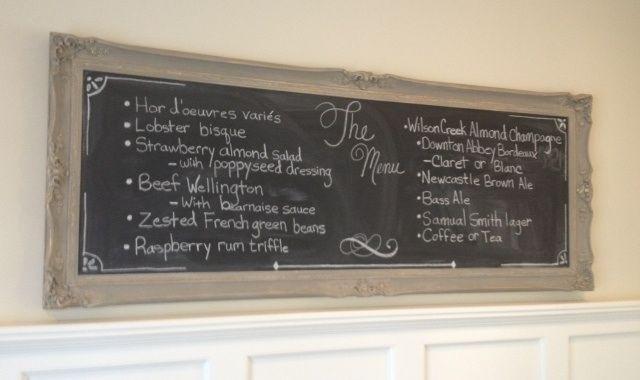 My menu written on dining room chalkboard