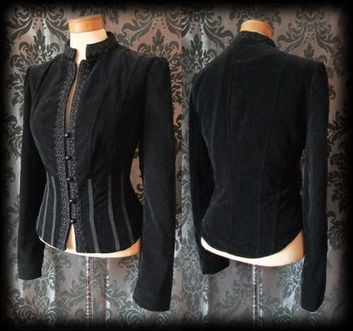Black Velvet Panel Beaded VICTORIAN STEAMPUNK Fitted Corset Jacket 12 14 Gothic - £49.00
