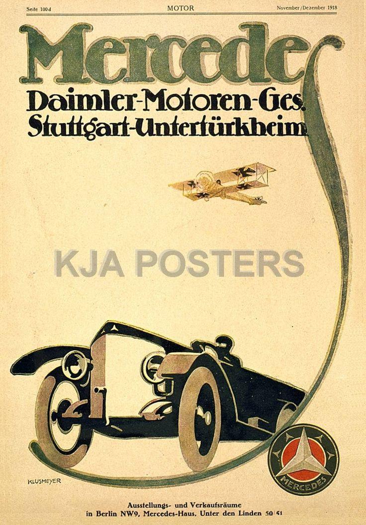 Mercedes daimler motoren poster 1918 rp mercedes posters for Vintage mercedes benz posters