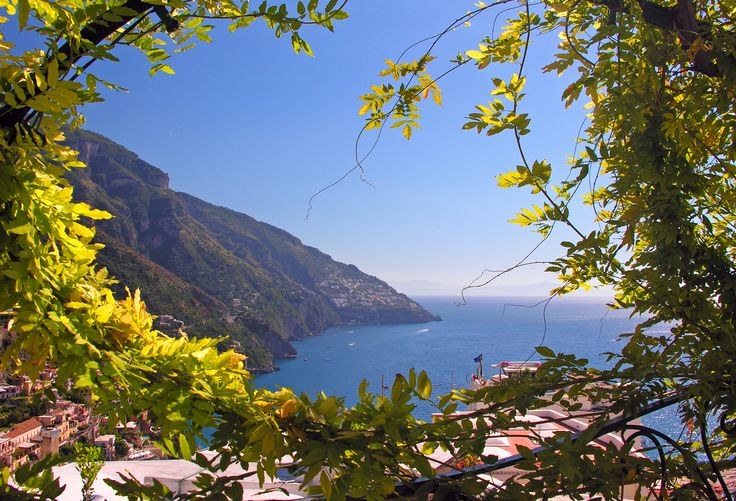 A beautiful vista of Positano, Italy framed by wisteria vines. See it in person with In Splendid Company small group tours! www.insplendidcompany.com