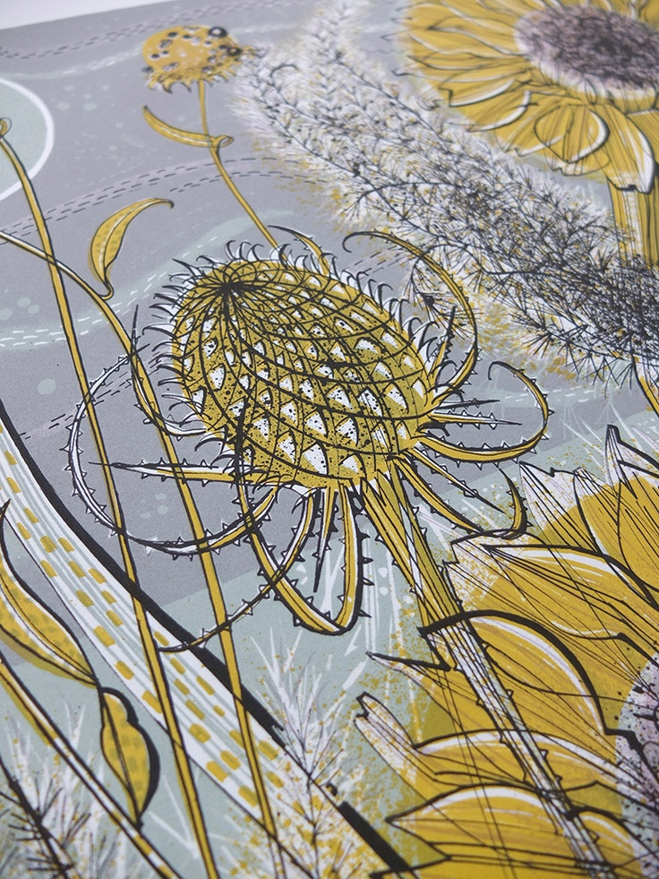 Angie Lewin - Autumn Garden, Norfolk - screen print - detail